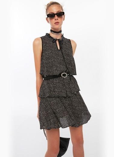 Twist Volanlı Yıldız Desen Mini Elbise Siyah